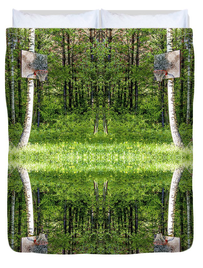 Basketball Duvet Cover featuring the photograph Basketball Forest Court Reflection 1 by Yevgeni Kacnelson