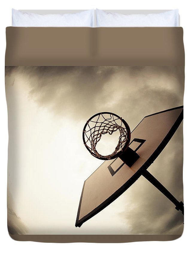 Goal Duvet Cover featuring the photograph Basketball Hoop, Dramatic Sky by Zodebala