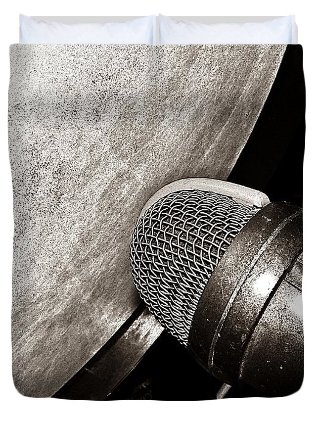 Music Duvet Cover featuring the photograph Bass Drum And Mic by Chris Berry