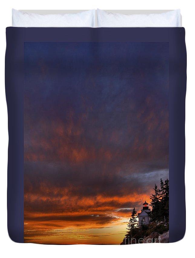 Acadia National Park Duvet Cover featuring the photograph Bass Harbor Lighthouse 1 by Oscar Gutierrez