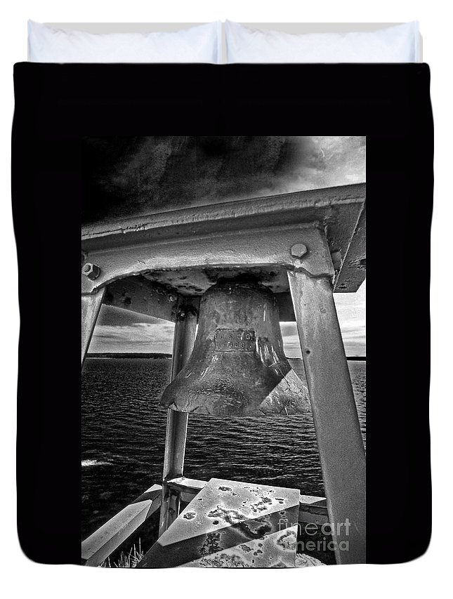 Lighthouses Duvet Cover featuring the photograph Bass Head Lighthouse Bell by Skip Willits