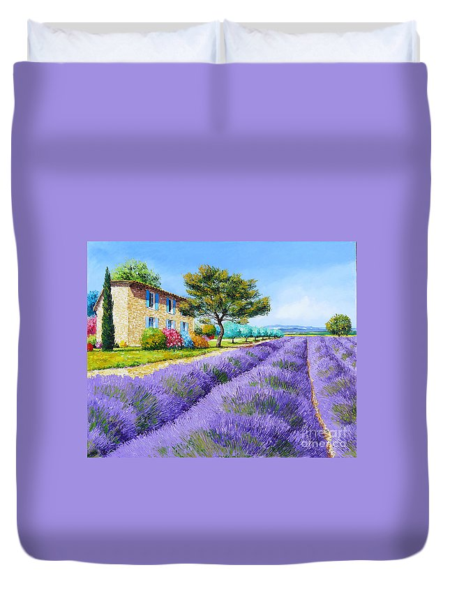 Cottage Duvet Cover featuring the painting Bastide by Jean-Marc Janiaczyk