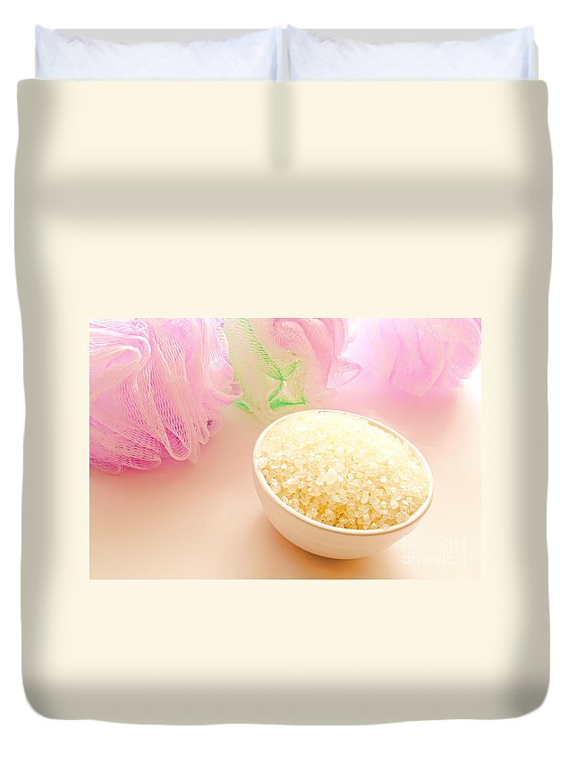 Spa Duvet Cover featuring the photograph Bath Sea Salts by Olivier Le Queinec