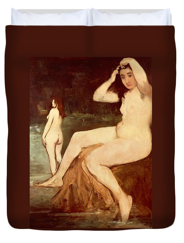 Art Duvet Cover featuring the painting Bathers On Seine by Edouard Manet