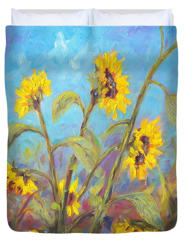 Sunflower Duvet Cover featuring the painting Bathing Beauties by Jeff Pittman