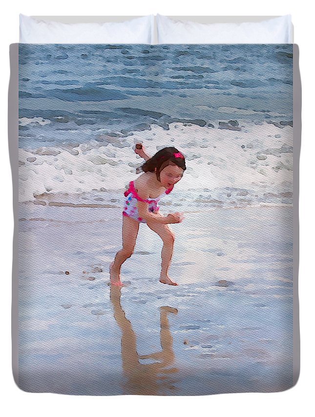 Girl Duvet Cover featuring the photograph Bathing Beauty Running by Alice Gipson