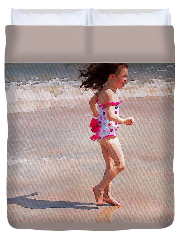 Girl Duvet Cover featuring the photograph Bathing Beauty Three by Alice Gipson