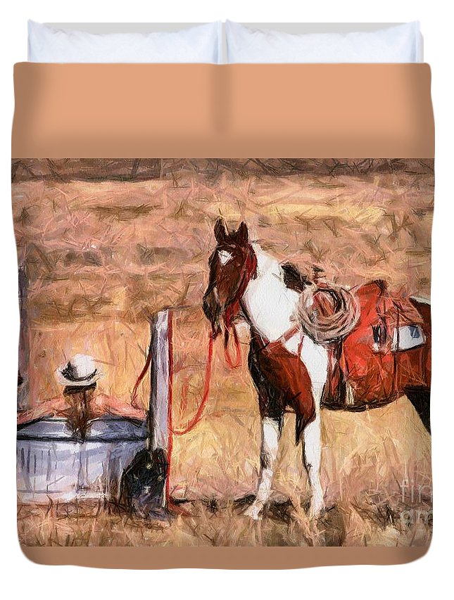 Cowgirl Duvet Cover featuring the painting Bathing Cowgirl by Murphy Elliott