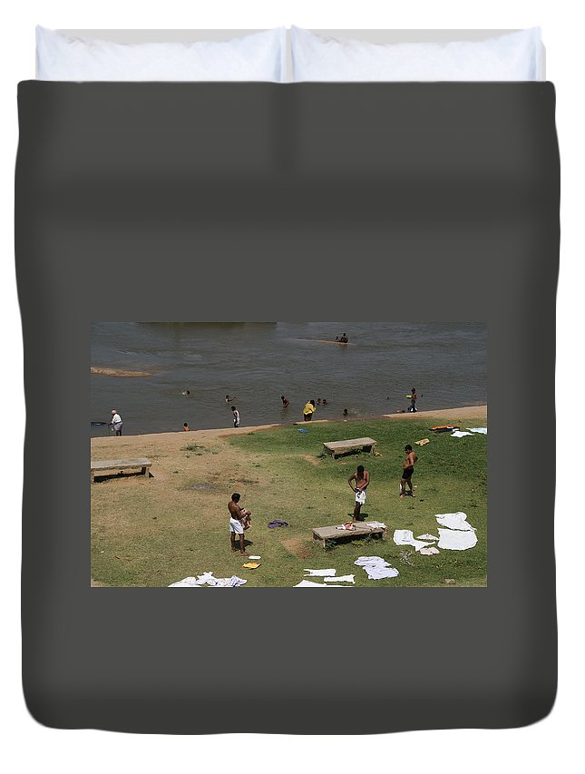 Bathing Ghats Duvet Cover featuring the digital art Bathing Ghats by Carol Ailles