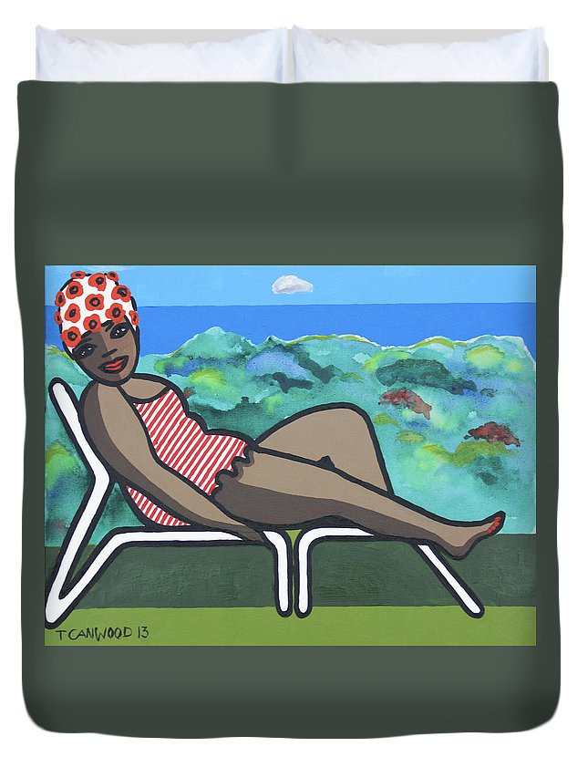 Sea Duvet Cover featuring the painting Bathing Suit 3 by Trudie Canwood