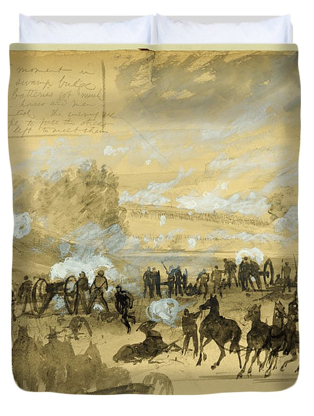 American Civil War Duvet Cover featuring the drawing Battle At White Oak Swamp Bridge by Celestial Images