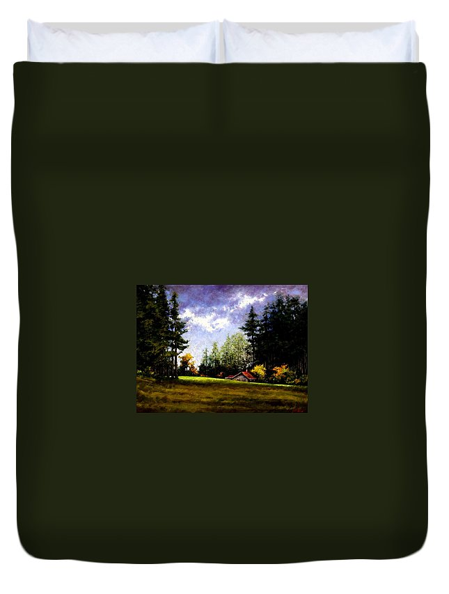 Landscape Duvet Cover featuring the painting Battle Ground Park by Jim Gola