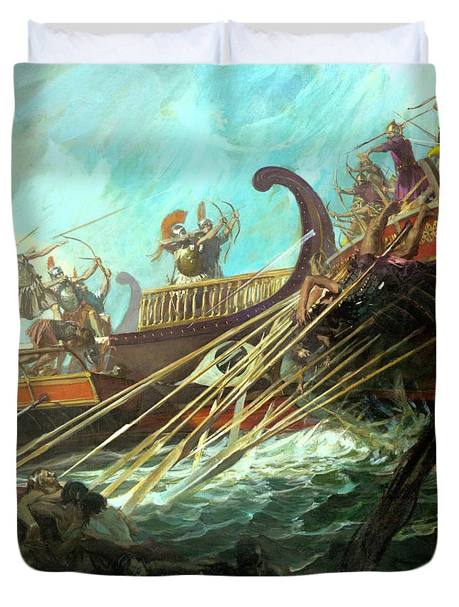 Color Image Duvet Cover featuring the photograph Battle Of Salamis, 480 Bce by Stanley Meltzoff / Silverfish Press