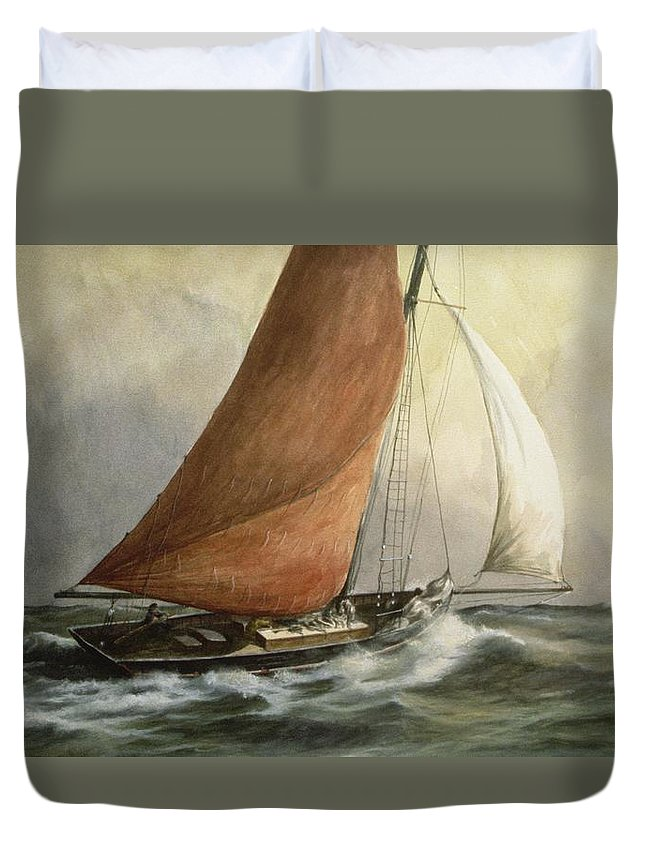 Sailing; Yacht Duvet Cover featuring the painting Bawley In The Estuary by Vic Trevett