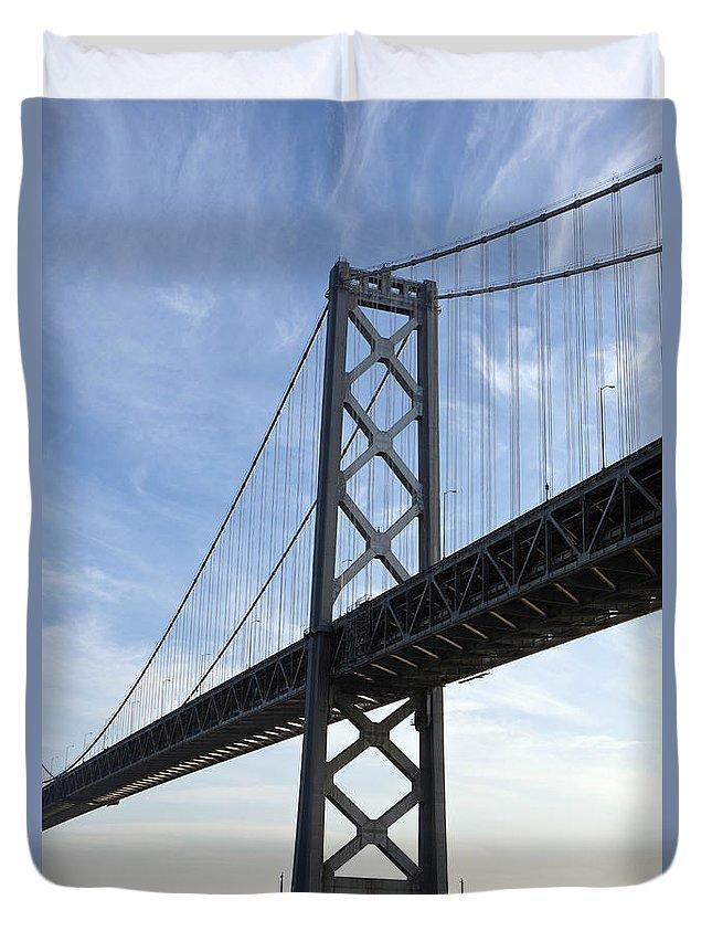Bay Bridge Duvet Cover featuring the photograph Bay Bridge San Francisco by Jason O Watson
