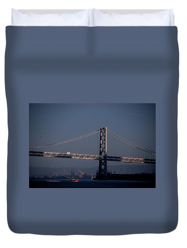 San Francisco Duvet Cover featuring the photograph Bay Bridge West Span by Eric Tressler