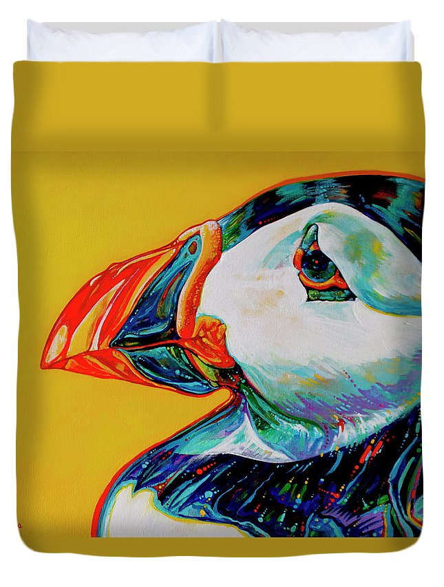 Animal Paintings Duvet Cover featuring the painting Bay Bulls Puffin by Derrick Higgins