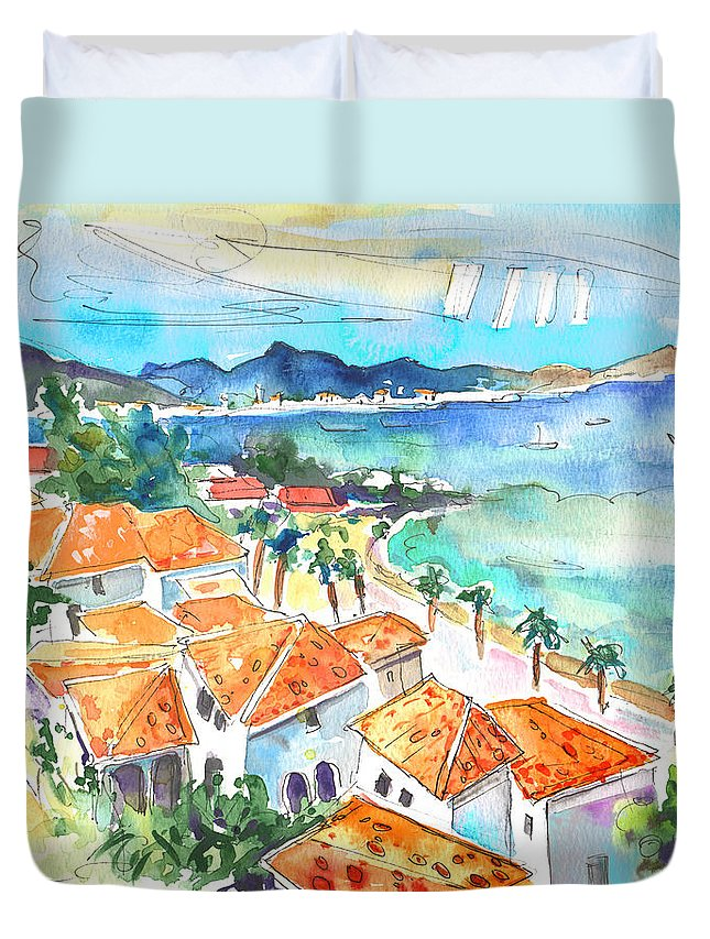 Caribbean Islands Duvet Cover featuring the painting Bay Of Saint Martin by Miki De Goodaboom