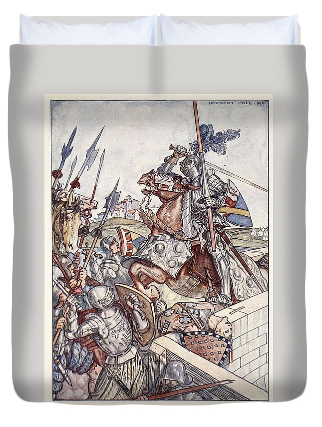 Knights Duvet Cover featuring the drawing Bayard Defends The Bridge, Illustration by Herbert Cole