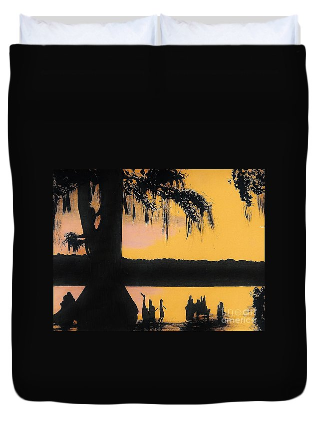 Sunset Duvet Cover featuring the drawing Bayou Sunset by D Hackett
