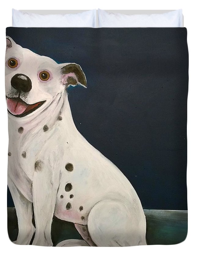 Dog Duvet Cover featuring the painting Baz The Dog by Caroline Peacock