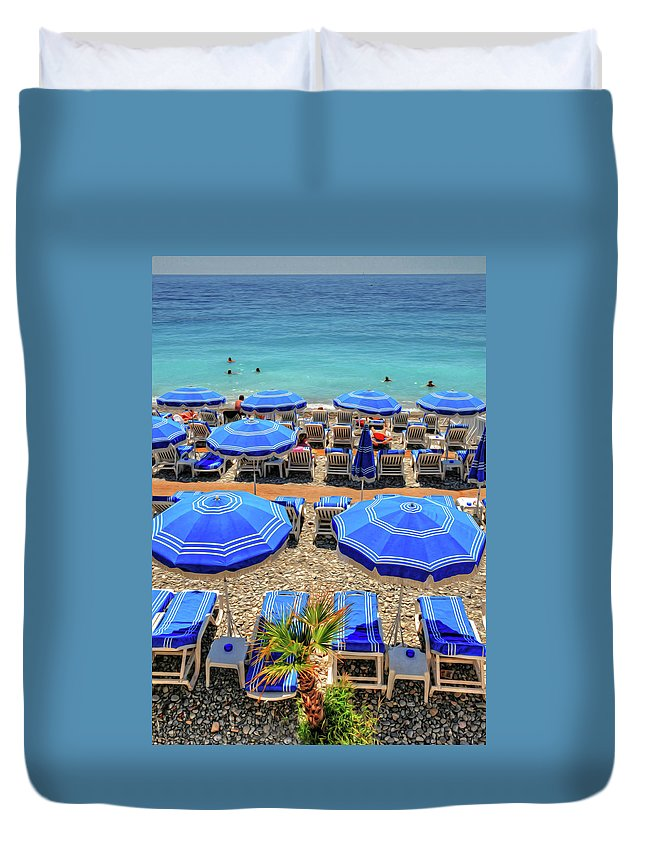 Nice Duvet Cover featuring the photograph Beach At Nice France by Dave Mills