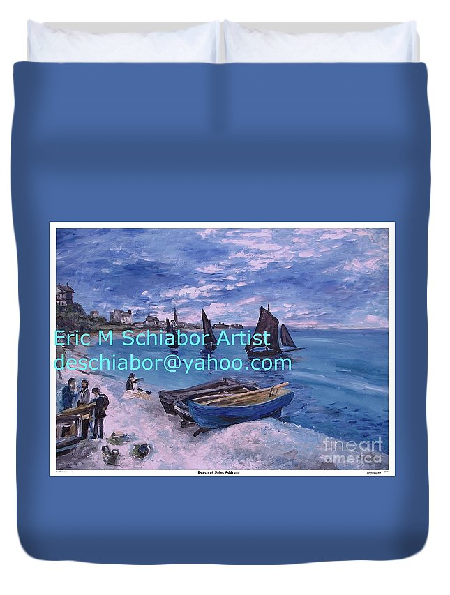 Beach At Saint Address Duvet Cover featuring the painting Beach At Saint Address by Eric Schiabor