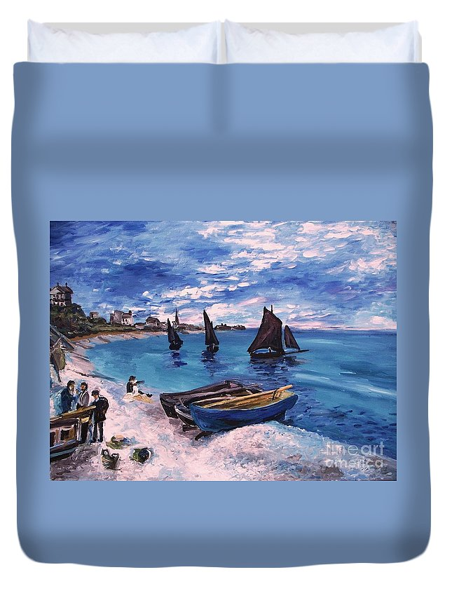 Monet Duvet Cover featuring the painting Beach At Sainte Adresse Monet by Eric Schiabor