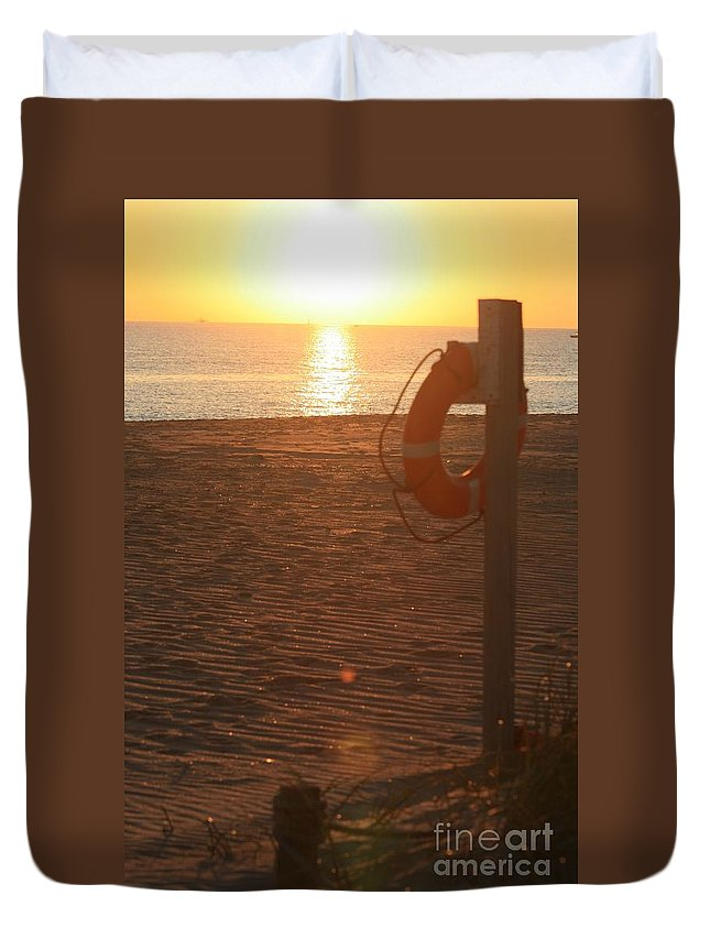 Beach Duvet Cover featuring the photograph Beach At Sunset by Nadine Rippelmeyer