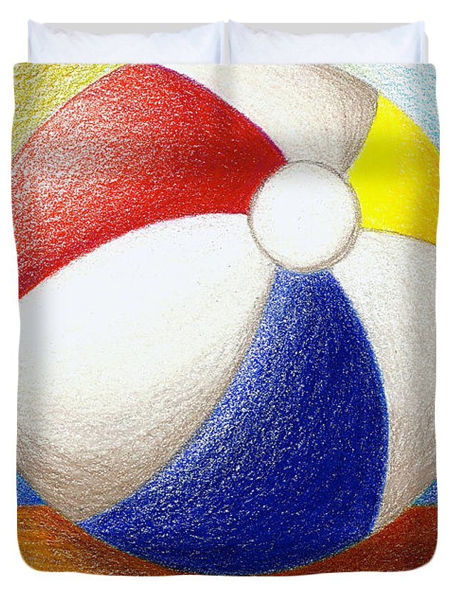 Coastal Art Duvet Cover featuring the drawing Beach Ball by Stephanie Troxell