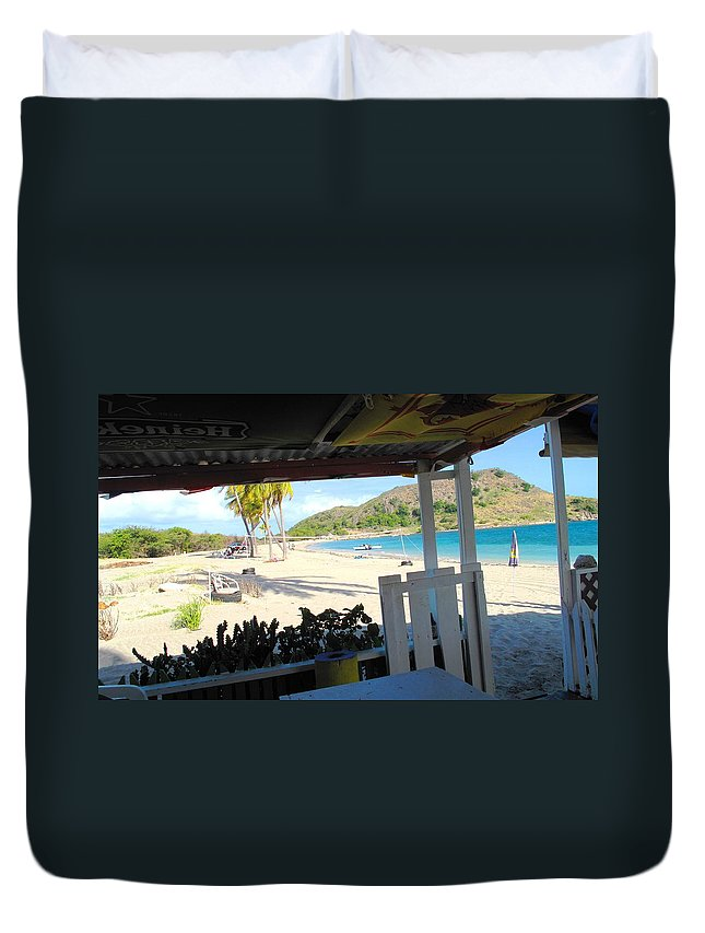 St Kitts Duvet Cover featuring the photograph Beach Bar In January by Ian MacDonald