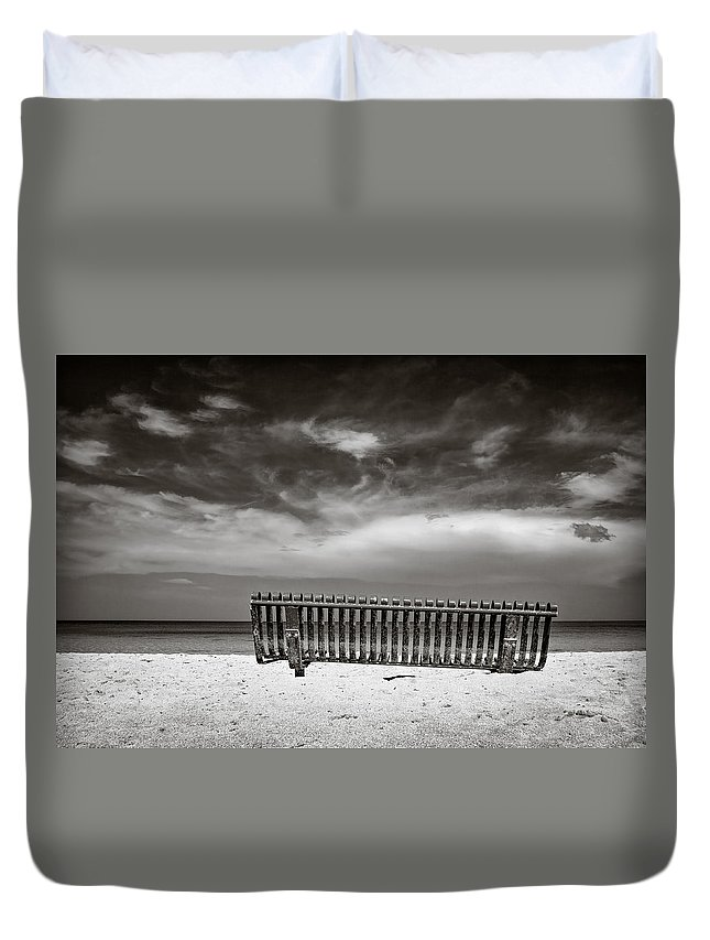 Jamaica Duvet Cover featuring the photograph Beach Bench by Dave Bowman