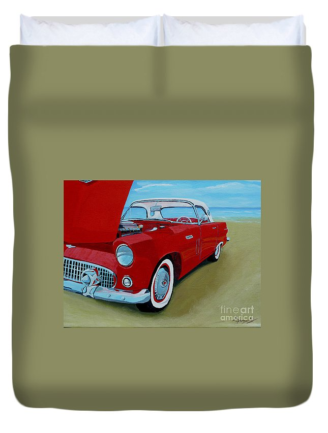 Car Duvet Cover featuring the painting Thunder Bird by Anthony Dunphy