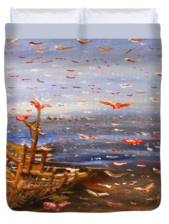 Birds Duvet Cover featuring the painting Beach Boat And Birds by Michael Anthony Edwards