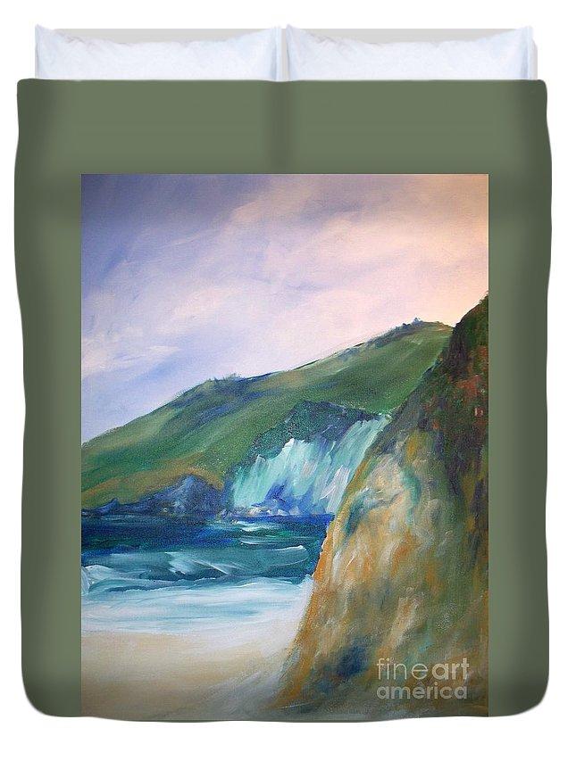California Coast Duvet Cover featuring the painting Beach California by Eric Schiabor