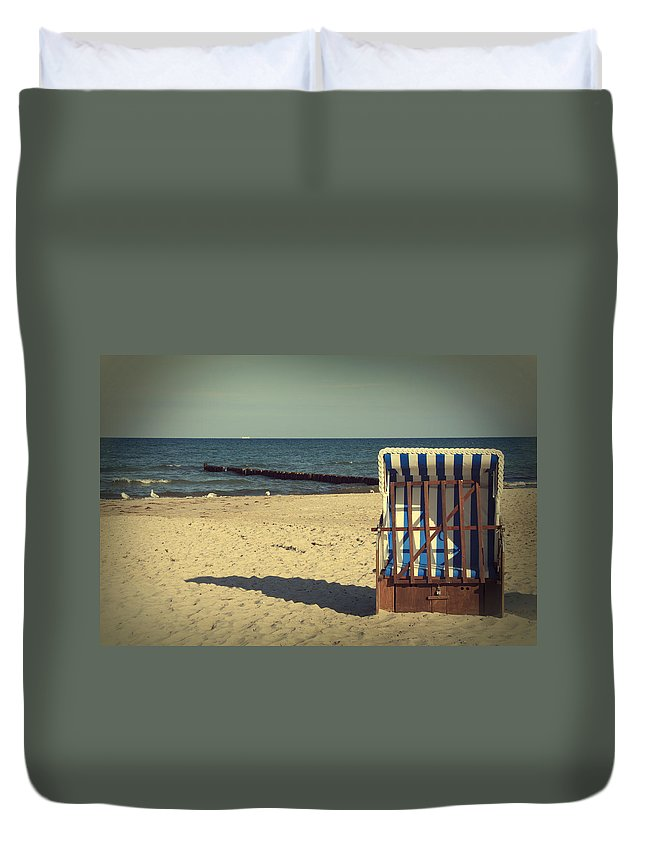 Sea Duvet Cover featuring the photograph Beach Chair by Heike Hultsch