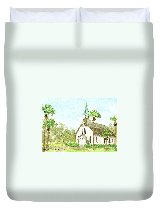 Church Duvet Cover featuring the painting Beach Church by Joyce Tucker