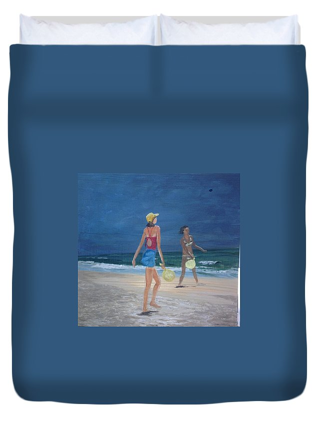 Beach Duvet Cover featuring the painting Beach Games by Donna Rollins