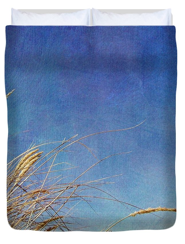 Beach Duvet Cover featuring the photograph Beach Grass In The Wind by Michelle Calkins