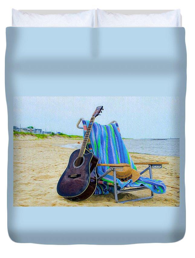 Beach Duvet Cover featuring the photograph Beach Guitar by Bill Cannon
