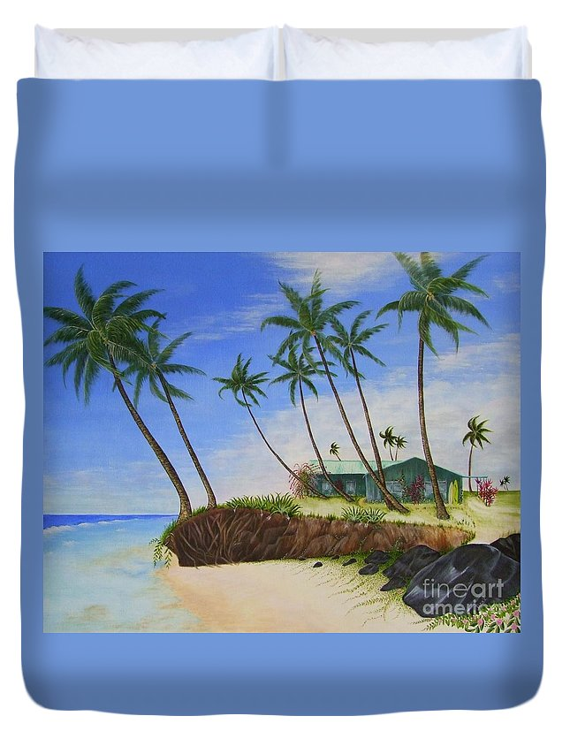 Beach House Duvet Cover featuring the painting Beach House by Mary Deal