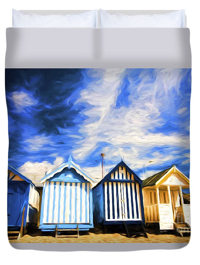 Beach Huts Duvet Cover featuring the photograph Beach huts at Southend by Sheila Smart Fine Art Photography