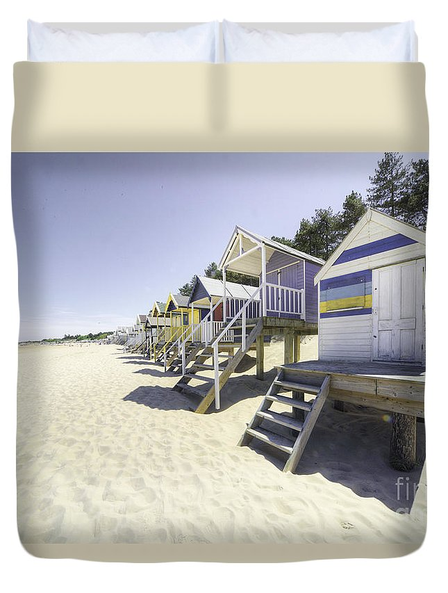 Wells Duvet Cover featuring the photograph Beach Huts At Wells by Rob Hawkins