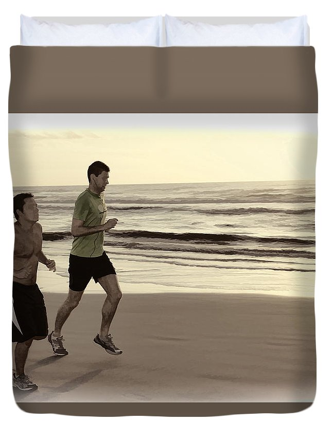 Two Men Jogging Beach Ocean Waves Duvet Cover featuring the photograph Beach Joggers by Alice Gipson