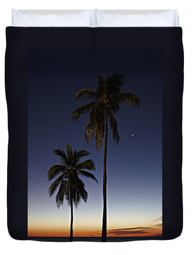 Palm Trees Duvet Cover featuring the photograph Beach Palms by Paul Wilford