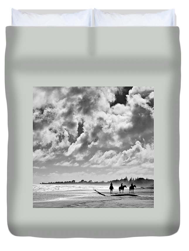 Ride Duvet Cover featuring the photograph Beach Riders by Dave Bowman