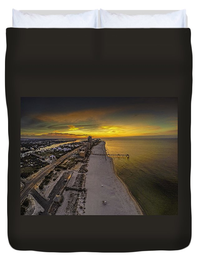 Palm Duvet Cover featuring the digital art Beach Road Sunrise by Michael Thomas