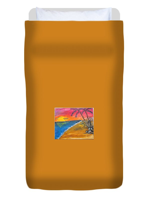 Beach Duvet Cover featuring the painting Beach Scene by Catherine Ratliff