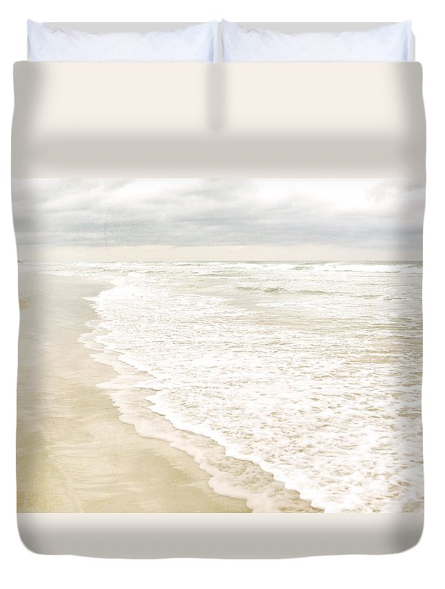 Beach Print Duvet Cover featuring the photograph Beach Serenity by Angie Mahoney