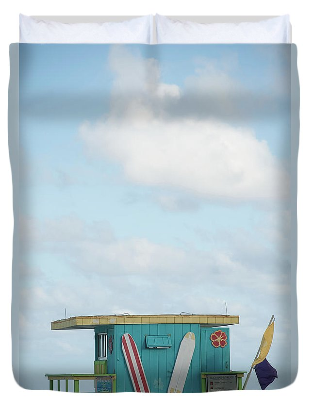 Security Duvet Cover featuring the photograph Beach Shack by Aaron Mccoy